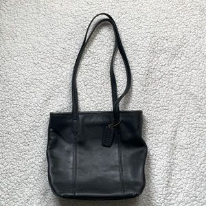 Vintage Coach Black Leather Lunch Tote